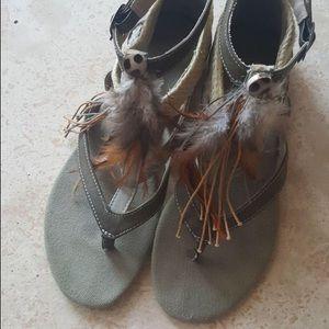 Aldo Feathered Boho Sandals